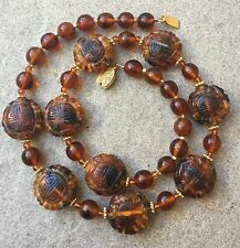 Antique Chinese Carved Amber Bead Necklace