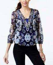 B7 NWT INC CONCEPTS EMBELLISHED PRINTED PEASANT BLOUSE TOP S