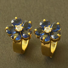 Solid Gold Plated Childrens Infant Blue Cubic Zircon Womens Flower Earrings