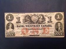 - 1859 Bank of Western Canada One 1 Dollar Queen Victoria and Prince Albert