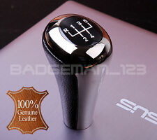 LEATHER & GUN METAL CHROME 5 SPEED GEAR KNOB SHIFT ALL E30 E36 E46 E39 E34 Z3