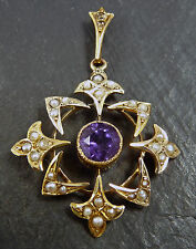 Antique Edwardian 9ct Yellow Gold Amethyst & Seed Pearl Pendant by T&S