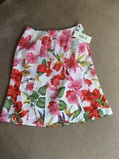 JOBIS Pretty Bright Flowery Silk Skirt Size 10 12 NEW WITH TAGS