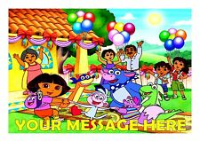 DORA'S BIRTHDAY PARTY  CAKE TOPPER A4  EDIBLE ICED ICING FROSTING PERSONALISED