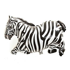 1 X Zebra Balloons Black & White Jungle Animal Party Props Helium Balloons
