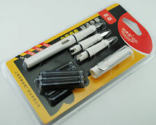 3 Nibs (M, F, EF) Hero 359 Polypack Fountain Pen White With 6 Free Cartridges