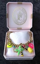 NIB Juicy Couture New Genuine Gold Necklace With 9 Summer Holiday Themed Charms