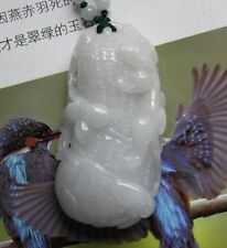 Certified Natural (A) Untreated Light Lavender JADE Carved Dragon Peanut Pendant