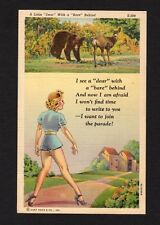 "Comic Postcard ""a little dear with a bare behind"" beautiful woman, wildlife"