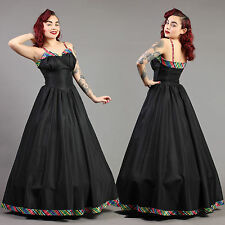 vtg RAINBOW plaid TAFFETA bombshell GOWN new look prom cocktail party 50s XS