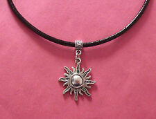 Black Leather Choker Necklace with Silver Sun Charm - New - UK Seller