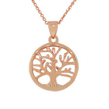 Sterling Silver Rose Gold Plated Womens Tree of Life Pendant Necklace with Chain