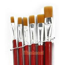 6Pcs Red Bristles Oil Paint Flat Head Brushes Artist Supplies Watercolor 6 Sizes