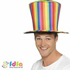 RAINBOW CIRCUS CLOWN PRIDE RAVER TALL TOP HAT - mens fancy dress costume