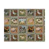 Farm Classic Animals Labels 30cm x 112cm 33 Squares 100% Cotton Fabric (Makower)