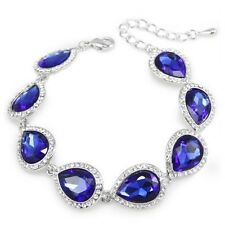 Blue Bracelet Bangle Women Silver Plated Luxury Crystal Wedding Bracelets Bridal