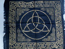 """Altar Cloth/Wiccan/Pagan/Wall Tapestry/Scarve Gold Triquetra 18"""" x 18"""" SCV206"""