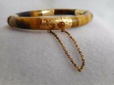 VINTAGE 8MM TIGER'S EYE TUBE & 14KT YELLOW GOLD  END CAPS & CLASP HINGED BANGLE