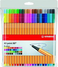 Stabilo 88 fineliner set of 40 Colouring Pens  - Fine Liner Drawing Pen