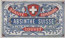 """""""ABSINTHE SUISSE DE COUVET"""" Etiquette-chromo originale fin 1800"""
