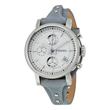 Fossil Original Boyfriend White Silver Dial Chronograph Blue Leather Ladies