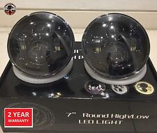 "Land Rover Defender 7"" LED headlights x2 RHD E DOT Approved Td4 Td5 90 110 Black"
