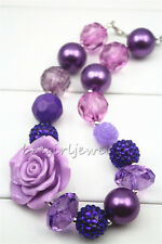 Purple Rose 1st Birthday Gift Chunky Bubblegum Girl necklace for kidsCB100