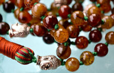 Budha Natural Agate Dragon Vein Hand Knotted Mala