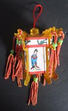 Chinese Japanese Hanging Paper Lanterns Dollhouse Miniature metal & paper tassel