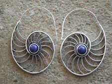 Silver plated brass ethnic earrings blue lapis lazuli stone cabochons