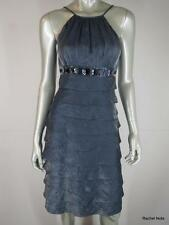 ADRIANNA PAPELL 4 Metallic Shimmer Jeweled Tiered Silver Evening Cocktail Dress