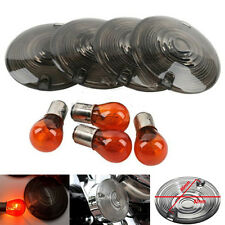 4x Turn Signal Lens For Harley Davidson Electra Glides Road King Smoke w/ Bulbs