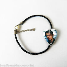 DAVID BOWIE leather braided guitar pick plectrum glam rock experimental BRACELET
