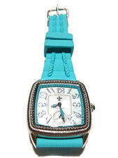 JUDITH RIPKA STAINLESS STEEL BLUE RUBBER MOTHER OF PEARL WRISTWATCH WATCH