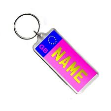 Personalised Name Pink Licence Number Plate Acrylic Plastic Bag Tag Keyring