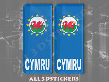 2x3D Sticker Resin Domed Euro WALES Number Plate with Flag Car Badge Adhesive