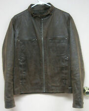 Topman Hipster Distressed Look Brown Zippered Jacket Men's Size M