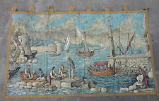 Antique French Beautiful Scene Print Tapestry 108X65cm (A203)
