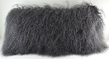 Real Dark Grey Mongolian Gray Tibetan Lamb Fur Pillow made in usa Tibet cushion