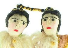 VINTAGE SILK WOOL HAND SEWN MINIATURE MAN & WOMAN DOLL CHRISTMAS  ORNAMENTS