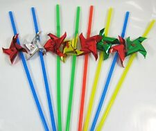 Straws with Windmill  24cm Plastic Assorted colours 2 packs of 8