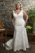 wedding dress size plus 16 18 20 22 24 26 lace shoulder straps white ivory 5941