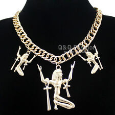 Egyptian Cleopatra Gold Goddess Triple ISIS Ankh Cross Statement Bib Necklace H9