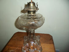 Antique c.1880-90's Pressed Glass Oil Lamp Peacock Feather Pattern EAPG Clear