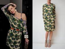 New MARNI H&M Green Purple Multi Batik Print Silk Long Sleeve Dress 6 Fits 4