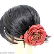 HANDMADE MURKA WINE RED GENUINE LEATHER FLOWER ROSE ART STATEMENT HAIR SCRUNCHIE