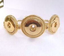 Three Snap Gold Toggle Bracelet For Snap-It Button Charms