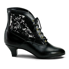 "2"" Black Lace Victorian Ankle Steampunk Low Granny Boots Shoes size 7 8 9 10 11"