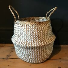 Small White Natural Seagrass Belly Basket Zig Zag Straw Planter Laundry Basket