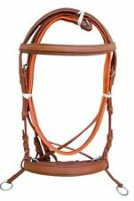 New Leather Cross Over Bitless Bridles with Reins Tan Pony Bridle English @!#